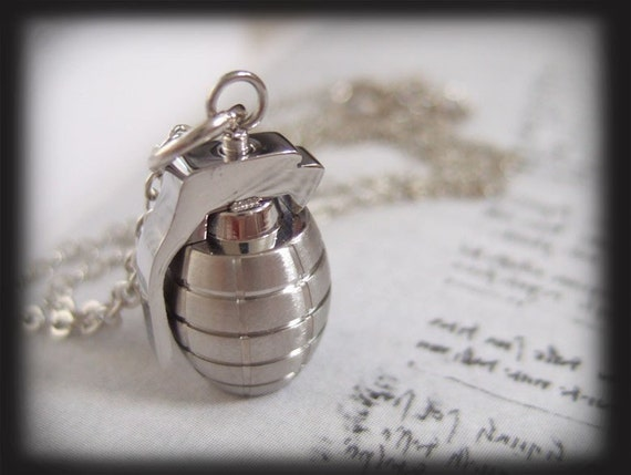 YOU ARE THE BOMB, a hand grenade charm necklace in stainless steel