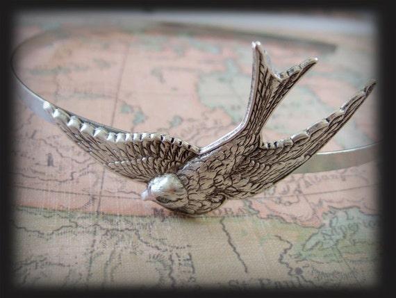 SILVER SPARROW metal headband with silver plated sparrow bird