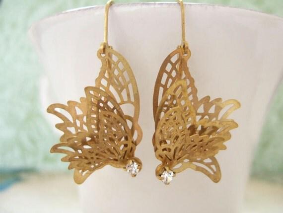 Butterfly In Motion, vintage inspired  brass butterfly charm earrings