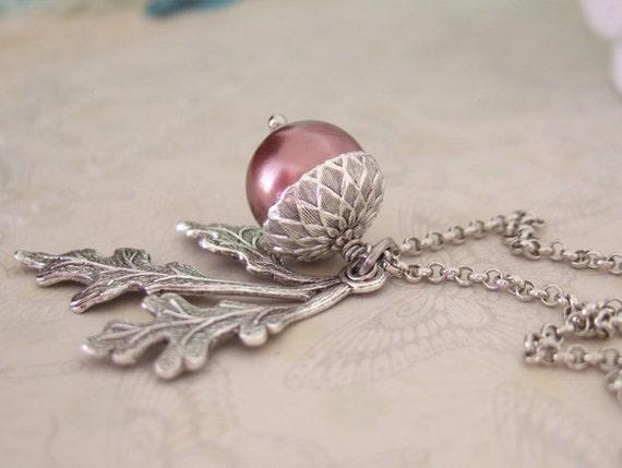 silver acorn necklace, Find under the Oak Tree, antique silver acorn necklace with glass pearl