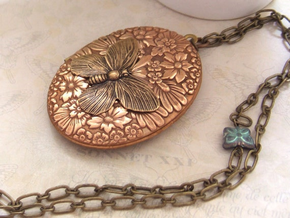 womens jewelry - BUTTERFLY IN MOTION - 70s vintage copper and brass locket necklace with glass butterfly beads
