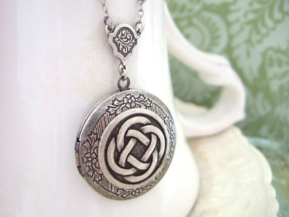 silver locket necklace, THE ETERNAL KNOT, celtic knot locket necklace in antique silver