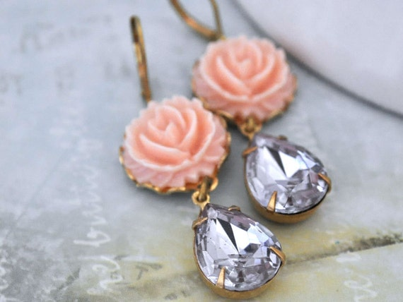 DUSTY ROSE pink resin flower cab earrings with vintage Alexandrite glass jewels