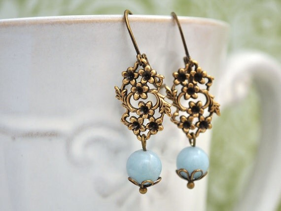 The PETITE FLOWERS, floral antiqued brass charm earrings with jade color stones