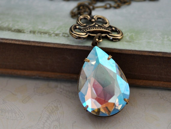 SNOW QUEEN vintage pear shaped ab effect glass crystal jewel necklace in antique brass