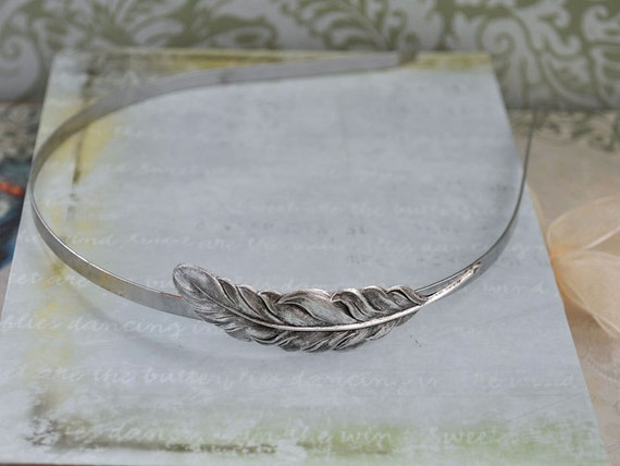 Free as a Bird. antiqued silver metal headband with feather