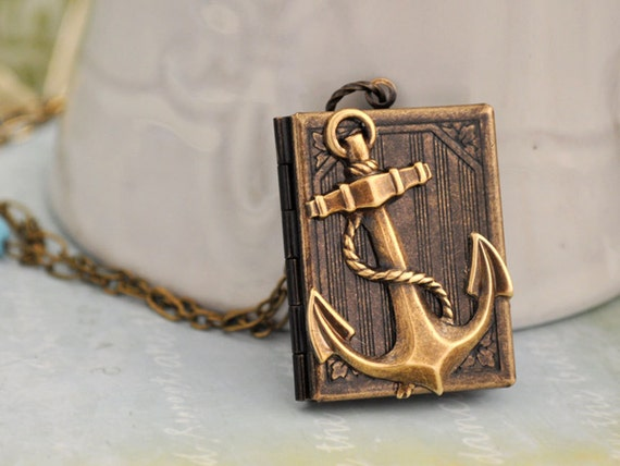 JOURNEY, anchor necklace, world traveler, book locket, set sails, leaving shore, nautical necklace, silver book locket