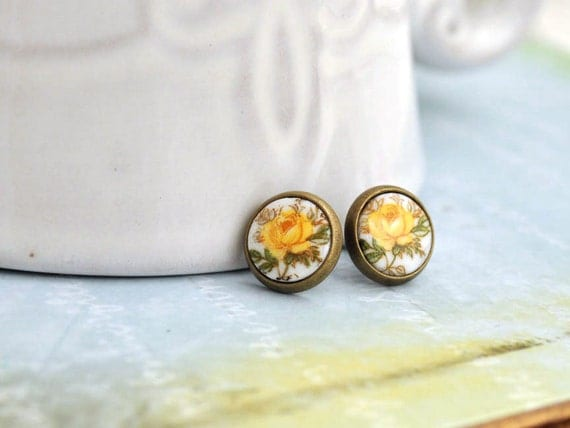 YELLOW ROSES, vintage glass yellow rose cab antiqued brass stud earrings with steel posts