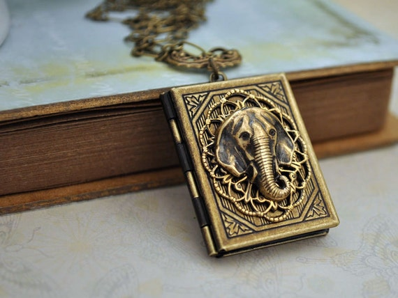 book style elephant locket - SAFARI - antique brass locket necklace