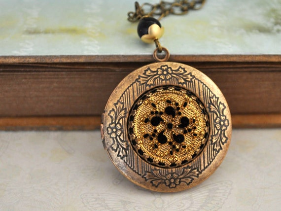 THE RUSSIAN PRINCESS, Vintage golden color pressed glass cab locket necklace in antique brass