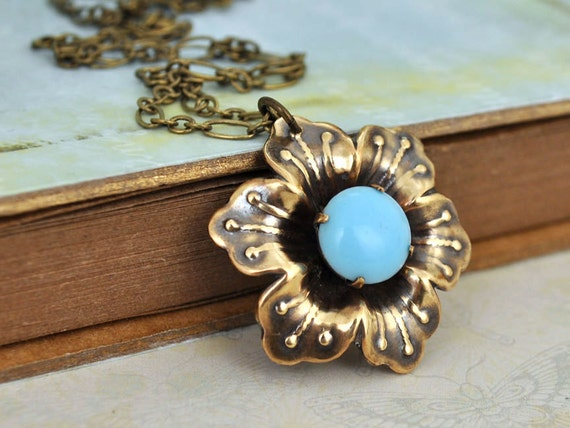 SAKURA, antiqued brass cherry blossom flower pendant vintage blue glass jewel