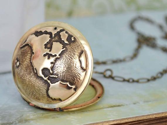 vintage style locket necklace, TRAVEL THE WORLD,  globe locket, world map locket, the earth locket, traveler's locket