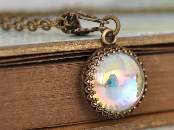 SILVER AURORA, vintage Swarovski aurora glass cab necklace in antique brass
