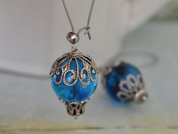 UP UP and AWAY hot air balloon earrings with vintage blue lucite beads on surgical steel ear posts