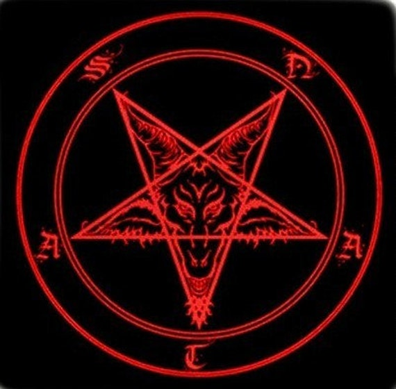 Items Similar To Red SATAN ALTAR BANNER 18x18 Satanism And