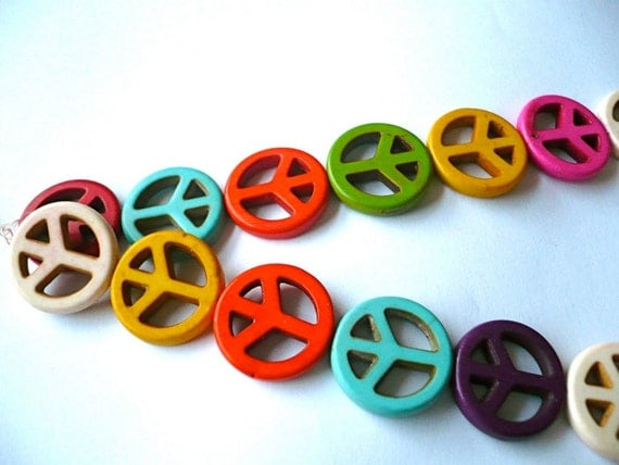 Multicolour howlite peace sign beads - 20mm - 12 pieces