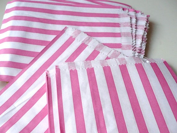 50 pink  and white candy striped paper bags - vintage style - nostalgic packaging