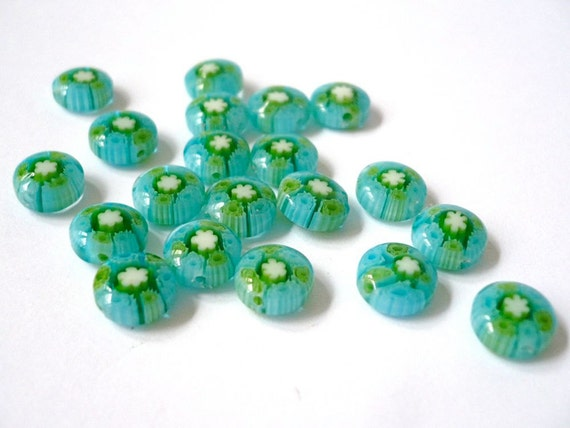 Cute millefiori beads - coin shape - green and pale blue with white flower - 20 beads