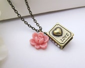 My Love Diary - Antique brass Love book charm and Pink rose flower cabochon Necklace