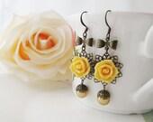 Tangerine Rose Flower Cabochons and Golden Swarovski Pearls Earrings