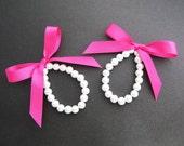 SET of 2 Flower Girl Bracelet Bridesmaid Bracelet Sweet White Glass Pearl and Ribbon - Choose your prefer color