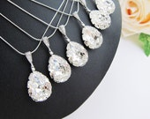10% OFF SET of 5 Wedding Jewelry Bridesmaid Jewelry Bridal Necklace Bridesmaid Necklace Clear White Swarovski Crystal Tear drop Necklace