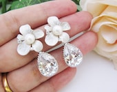 Wedding Jewelry Bridal Earrings Bridesmaid Earrings flower ear posts with fresh water pearls and Cubic zirconia Tear drops