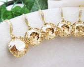SET of 8 Wedding Jewelry Bridesmaid Jewelry Bridesmaid Earrings Golden Shadow Swarovski Crystal Square drops Bridal Earrings