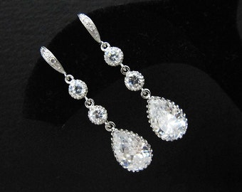 Wedding Jewelry Bridal Earrings Bridesmaid Earrings cubic zirconia connectors and (M) cubic zirconia Crystal tear drops