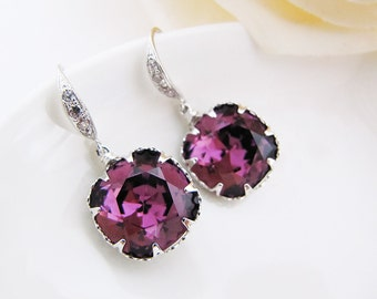 Rodium plated over Sterling Silver Ear hooks with Amethyst Swarovski Crystal Square drops Bridal Earrings