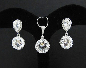 Wedding Jewelry Bridal Necklace Bridal Earrings Clear white round cubic zirconia Crystal drops Bridal Jewelry Set