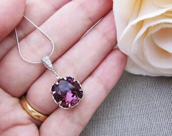 Bridal Necklace Bridesmaid Necklace Amethyst Swarovski Crystal square drop Bridal Necklace
