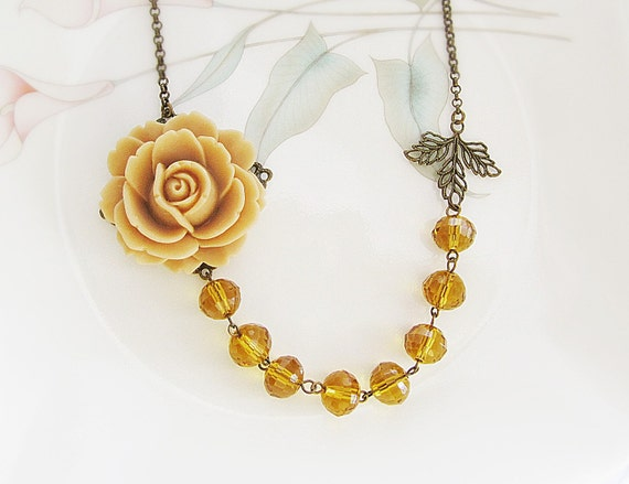 Caramel Rose Flower Cabochon and Topaz Glass Crystals Necklace