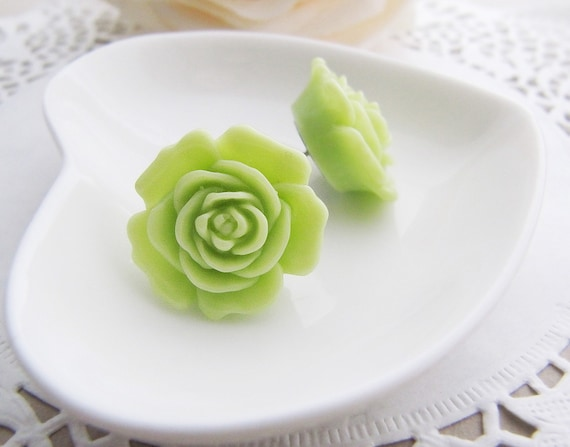 Lime Green Mary Rose Flower Cabochon Ear Studs