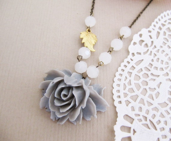 Romantic Rose - Rose Cabochon and Gold plated Leaf charm Necklace
