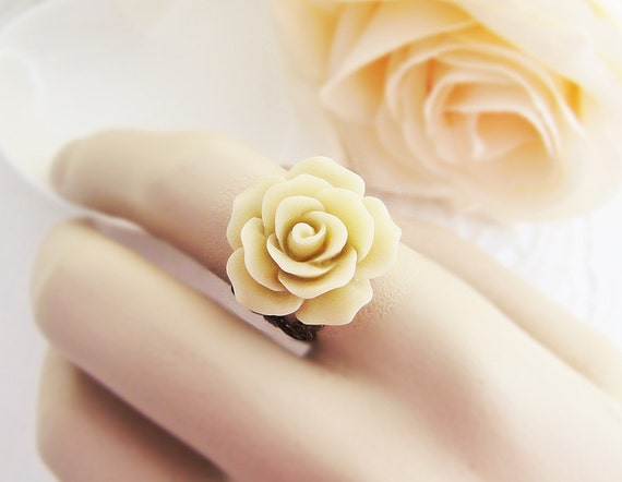 Latte Angelique Rose Flower Cabochon Victorian Style Ring. For Her. Gift for Her