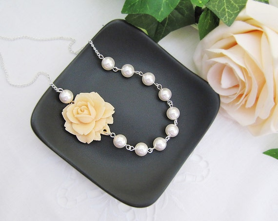 Ivory Rose Flower Cabochon and Crystal White Swarovski Pearls Bridal Necklace