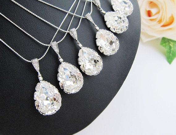 15% OFF SET of 9 Bridesmaid Necklace  Clear White Swarovski Crystal Tear drop Bridal Necklace