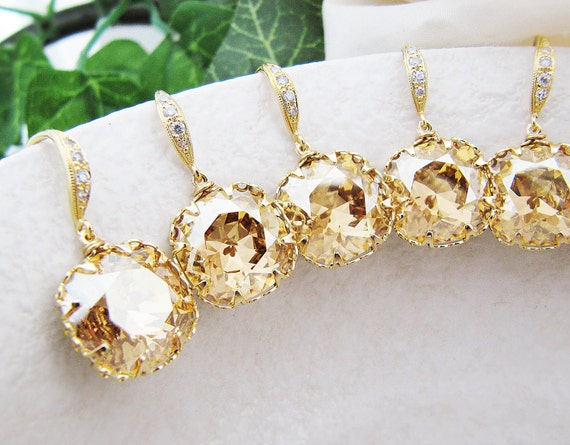 10% OFF SET of 3 Wedding Jewelry Bridal Earrings Bridesmaid Earrings Golden Shadow Swarovski Crystal Square drop dangle earrings