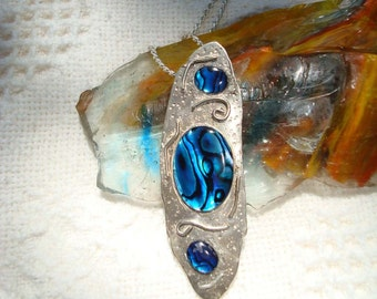 Amazing Paua Shell and Sterling Silver Pendant Necklace