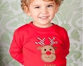 Boys Reindeer Shirt, Boys Christmas Shirt, Red Christmas Shirt, Monogrammed Christmas Shirt, Monogrammed Reindeer Shirt