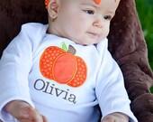 Fall Pumpkin Monogrammed Bodysuit or Shirt, Pumpkin Shirt, Halloween Shirt, Pumpkin Bodysuit, Thanksgiving Shirt, Thanksgiving Bodysuit
