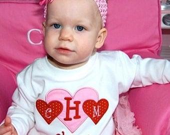 Girls Valentines Day Shirt, Monogrammed Valentines Day Shirt, Hearts, Valentines, Heart Shirt