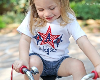 Monogrammed 4th of July Shirt, Patriotic, Star Mongogram