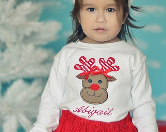 Girls Monogrammed Christmas Shirt or Bodysuit, Reindeer