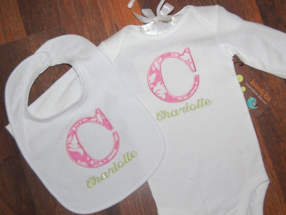 Monogrammed Bodysuit and Bib Set, Pink and White Damask, Pink and Green