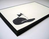 Cream Black Tuxedo Cat Blank Postcard Style Notecards