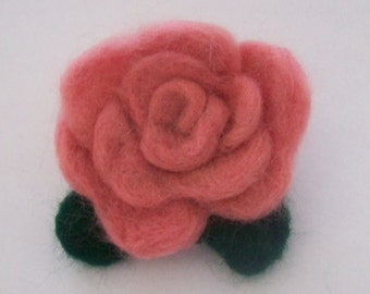 Needle Felted Rose Brooch By Pixie Doodles