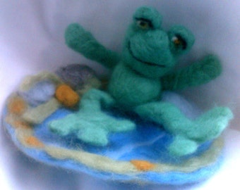 The Lazy Frog - A Needle Felted Collectible from Pixie Doodles