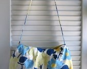 Upcycled Purse with Magnetic Snap Made from an Ann Taylor Blue and Yellow Floral Skirt